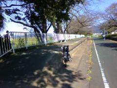 ホームが残る廃線跡のサイクリングロード